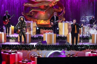 NEW YORK, NEW YORK - DECEMBER 02: Dan Smyers and Shay Mooney of Dan + Shay perform during the 88th Annual Rockefeller Center Christmas Tree Lighting Ceremony at Rockefeller Center on December 02, 2020 in New York City. (Photo by Cindy Ord/Getty Images)