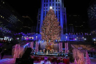 NEW YORK, NEW YORK - DECEMBER 02: A view of the Christmas Tree during the 88th Annual Rockefeller Center Christmas Tree Lighting Ceremony at Rockefeller Center on December 02, 2020 in New York City. (Photo by Cindy Ord/Getty Images)