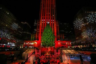 NEW YORK, NEW YORK - DECEMBER 02: A view of the stage during the 88th Annual Rockefeller Center Christmas Tree Lighting Ceremony at Rockefeller Center on December 02, 2020 in New York City. (Photo by Cindy Ord/Getty Images)