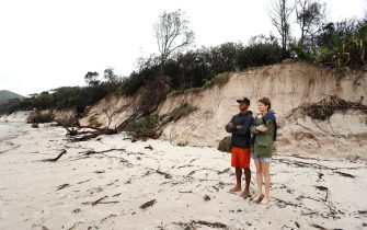 BYRON BAY, AUSTRALIA - DECEMBER 14:  Long stretch of coastal areas seen dissapeared due to erosion along the beach side, December 14, 2020 in Byron Bay, Australia. Byron Bay's beaches face further erosion as wild weather and hazardous swells lash the northern NSW coastlines. (Photo by Regi Varghese/Getty Images)