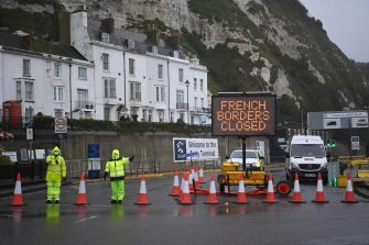 epa08897844 The Port of Dover remains closed in Dover, Britain, 21 December 2020. France has closed its border with the UK for 48 hours over concerns about the new coronavirus variant. Freight lorries cannot cross by sea or through the Eurotunnel and the Port of Dover has closed to outbound traffic.  EPA/NEIL HALL