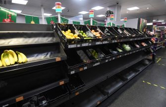 epa08898123 Supermarket shelves are pictured amid concerns over food supply after freight lorries cannot cross by sea or through the Eurotunnel and the Port of Dover has closed to outbound traffic in London, Britain, 21 December 2020. France has become the latest country to ban air and rail travel from the UK following news of the new variant Covid-19 that has spread rapidly across London and south-east England.  EPA/FACUNDO ARRIZABALAGA