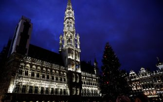 A view of the Christmas tree placed outside the Grand Palace central square in Brussels on December 21, 2019. (Photo by Aris Oikonomou / AFP) (Photo by ARIS OIKONOMOU/AFP via Getty Images)