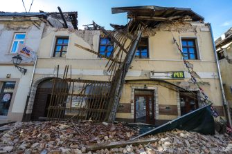 epa08909585 A view of the buildings damaged in an earthquake in Petrinja, Croatia, 29 December 2020. A 6.4 magnitude earthquake struck around 3km west south west of the town with reports of many injuries and at least one death.  EPA/ANTONIO BAT