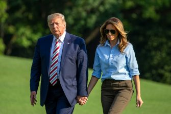 -Washington, DC - 20190804 United States President Donald J. Trump and first lady Melania Trump arrive back at the White House following a weekend at the Trump National Golf Club in Bedminster, New Jersey.  -PICTURED: President Donald Trump, Melania Trump -PHOTO by: Tasos Katopodis/CNP/startraksphoto.com -sized_080519_Trump-Arrival_005  This is an editorial, rights-managed image. Please contact Startraks Photo for licensing fee and rights information at sales@startraksphoto.com or call +1 212 414 9464 This image may not be published in any way that is, or might be deemed to be, defamatory, libelous, pornographic, or obscene. Please consult our sales department for any clarification needed prior to publication and use. Startraks Photo reserves the right to pursue unauthorized users of this material. If you are in violation of our intellectual property rights or copyright you may be liable for damages, loss of income, any profits you derive from the unauthorized use of this material and, where appropriate, the cost of collection and/or any statutory damages awarded (Washington - 2019-08-04, Tasos Katopodis/CNP / IPA) p.s. la foto e' utilizzabile nel rispetto del contesto in cui e' stata scattata, e senza intento diffamatorio del decoro delle persone rappresentate