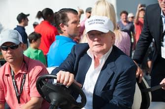 March 6th, 2016: Donald Trump attends the final round  at Trump National Doral Blue Monster Course in Miami, Florida. Mandatory Credit: Michele Eve Sandberg/INFphoto.com Ref: infusmi-25 (Miami - 2016-03-07, infusmi-25 / IPA) p.s. la foto e' utilizzabile nel rispetto del contesto in cui e' stata scattata, e senza intento diffamatorio del decoro delle persone rappresentate