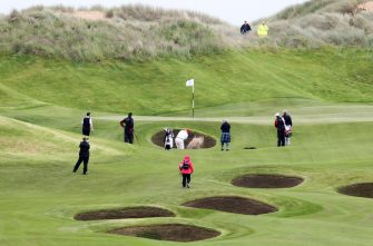 Scozia, Inaugurazione del campo da golf di Donald Trump, il 'Trump International Golf Links', vicino ad Aberdeen. Nella foto Donald Trump gioca a golf. (Aberdeen - 2012-07-11, Andrew Milligan / IPA) p.s. la foto e' utilizzabile nel rispetto del contesto in cui e' stata scattata, e senza intento diffamatorio del decoro delle persone rappresentate