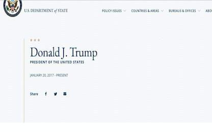 """Usa, errore su sito dipartimento Stato: """"Trump ha lasciato incarico"""""""