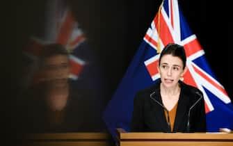 (200825) -- BEIJING, Aug. 25, 2020 (Xinhua) -- New Zealand's Prime Minister Jacinda Ardern speaks at a press conference in Wellington, New Zealand, Aug. 24, 2020. The COVID-19 restrictions in New Zealand's largest city Auckland will continue at the current Alert Level 3 until Sunday night, Prime Minister Jacinda Ardern announced on Monday.  Wearing masks are also mandatory from Monday on public transport, said the prime minister. (Xinhua/Guo Lei) - Guo Lei -//CHINENOUVELLE_CHIN01730/2008251007/Credit:CHINE NOUVELLE/SIPA/2008251008 (Wellington - 2020-08-24, CHINE NOUVELLE/SIPA / IPA) p.s. la foto e' utilizzabile nel rispetto del contesto in cui e' stata scattata, e senza intento diffamatorio del decoro delle persone rappresentate