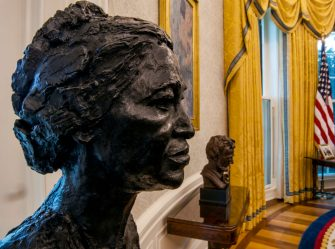 WASHINGTON, DC - January 20:  A sculpted bust of Rosa Parks, foreground, and Abraham Lincoln, right, on a table seen during an early preview of the redesigned Oval Office awaiting President Joseph Biden at the White House in Washington, DC. (Photo by Bill O'Leary/The Washington Post via Getty Images)
