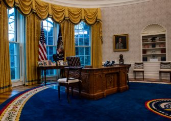 WASHINGTON, DC - January 20:  A view of the Resolute desk seen during an early preview of the redesigned Oval Office awaiting President Joseph Biden at the White House in Washington, DC. (Photo by Bill O'Leary/The Washington Post via Getty Images)