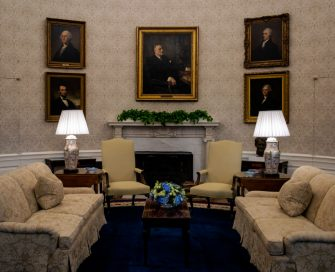 WASHINGTON, DC - January 20:  General view of the conversation area seen during an early preview of the redesigned Oval Office awaiting President Joseph Biden at the White House in Washington, DC. (Photo by Bill O'Leary/The Washington Post via Getty Images)