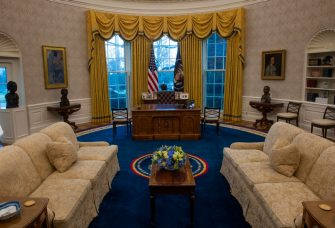 WASHINGTON, DC - January 20:  An early preview of the redesigned Oval Office awaiting President Joseph Biden at the White House in Washington, DC. (Photo by Bill O'Leary/The Washington Post via Getty Images)