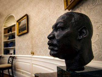 WASHINGTON, DC - January 20:  A sculpted bust of Dr. Martin Luther King, Jr., adorns a table for an early preview of the redesigned Oval Office awaiting President Joseph Biden at the White House in Washington, DC. (Photo by Bill O'Leary/The Washington Post via Getty Images)