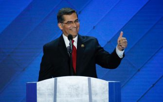 epa08867750 (FILE) - US Representative Xavier Becerra speaks during final day of the Democratic National Convention at the Wells Fargo Center in Philadelphia, Pennsylvania, USA, 28 July 2016 (Reissued 06 December 2020). According to reports, President-elect Joe Biden has picked Xavier Becerra to be secretary of health and human services.  EPA/SHAWN THEW *** Local Caption *** 52916552
