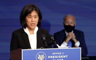 WILMINGTON, DELAWARE - DECEMBER 11: Katherine Tai delivers remarks after being introduced as U.S. President-elect Joe Biden's nominee to be the next U.S. Trade Representative at the Queen Theater on December 11, 2020 in Wilmington, Delaware. President-elect Joe Biden is continuing to round out his domestic team with the announcement of his choices for cabinet secretaries of Veterans Affairs and Agriculture, and the heads of his domestic policy council and the U.S. Trade Representative. (Photo by Chip Somodevilla/Getty Images)