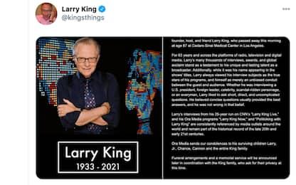 Larry King è morto a 87 anni, il conduttore era ricoverato per Covid
