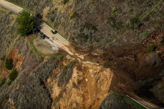 BIG SUR, CA - JANUARY 29:  Highway 1 is destroyed near Rat Creek after a landslide and heavy rains came through the area on Friday, Jan. 29, 2021 in Big Sur, California. (Gabrielle Lurie/The San Francisco Chronicle via Getty Images)