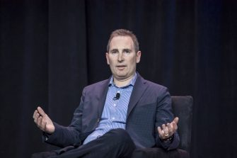 Andy Jassy, chief executive officer of web services at Amazon.com Inc., speaks during the Amazon Web Services (AWS) Summit in San Francisco, California, U.S., on Wednesday, April 19, 2017. Jassy is leading a push into artificial intelligence to boost Amazon's cloud computing, which commands about 45 percent of the market for infrastructure as a service, where companies buy basic computing and storage power from the cloud. Photographer: David Paul Morris/Bloomberg via Getty Images