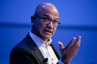 Satya Nadella, chief executive officer of Microsoft Corp., gestures as he speaks during a panel session on day two of the World Economic Forum (WEF) in Davos, Switzerland, on Wednesday, Jan. 22, 2020. World leaders, influential executives, bankers and policy makers attend the 50th annual meeting of the World Economic Forum in Davos from Jan. 21 - 24. Photographer: Jason Alden/Bloomberg via Getty Images