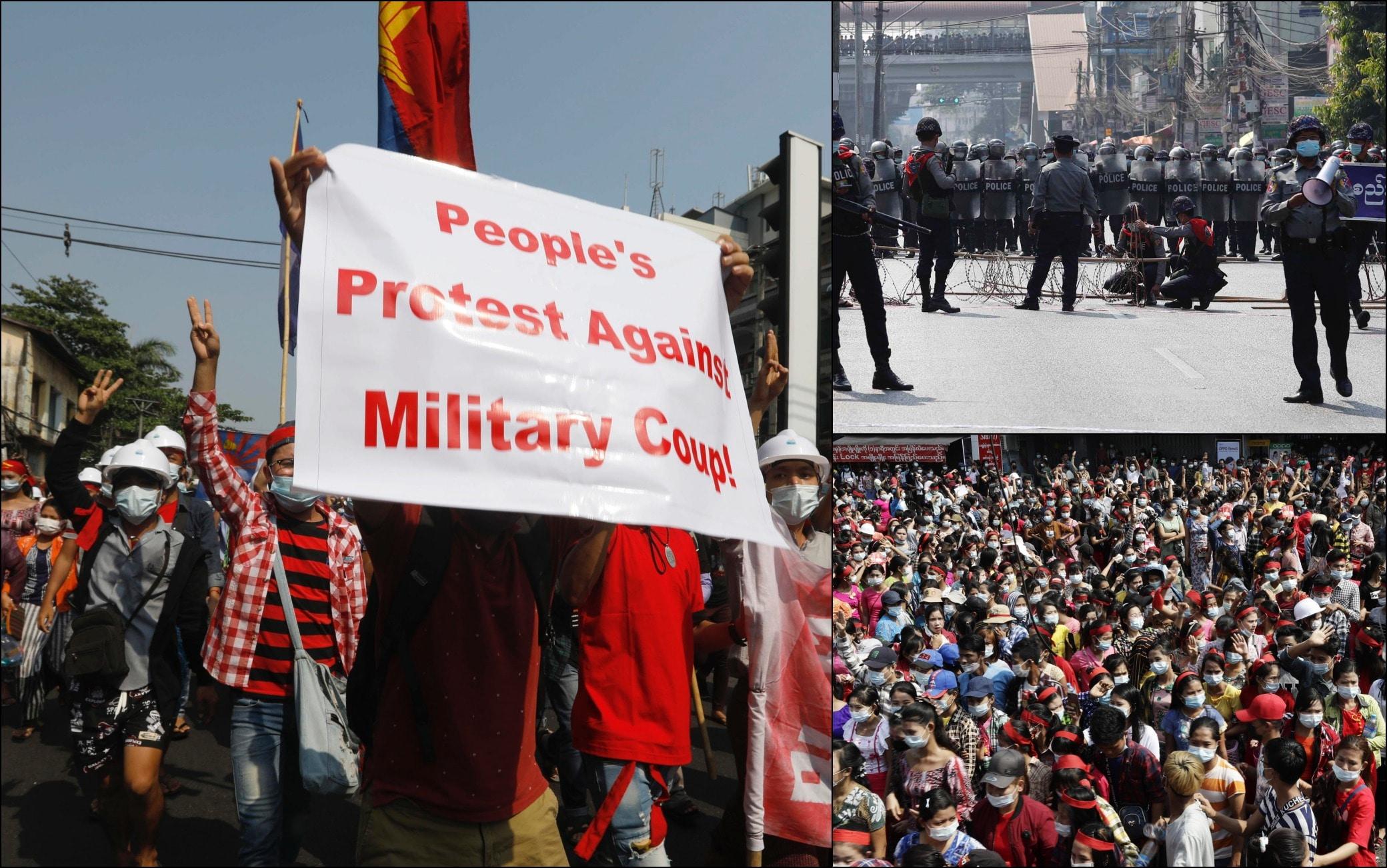 Birmania, manifestanti in piazza a Yangon contro il golpe
