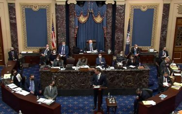 WASHINGTON, DC - FEBRUARY 10: In this screenshot taken from a congress.gov webcast,  Impeachment Manager Rep. Eric Swalwell (D-CA) speaks on the second day of former President Donald Trump's second impeachment trial at the U.S. Capitol on February 10, 2021 in Washington, DC. House impeachment managers will make the case that Trump was â  singularly responsibleâ   for the January 6th attack at the U.S. Capitol and he should  be convicted and barred from ever holding public office again. (Photo by congress.gov via Getty Images)