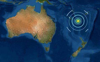 Sisma 7.5 in Nuova Caledonia nel Pacifico, allarme tsunami rientrato