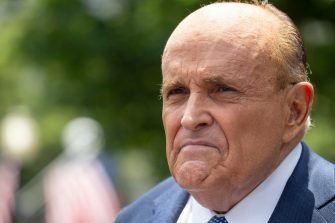 epa08521368 Rudy Giuliani, personal lawyer to United States President Donald J. Trump, speaks to members of the media following a television interview with One America News Network outside the White House in Washington, DC, USA, 01 July 2020.  EPA/Stefani Reynolds / POOL