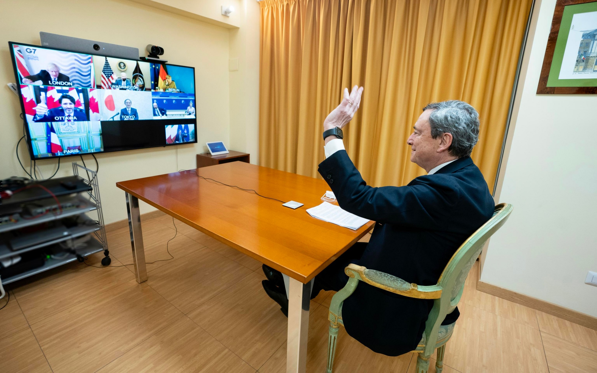Il presidente del Consiglio Mario Draghi partecipa in videoconferenza al G7 sui vaccini, Roma, 19 febbraio 2021.ANSA/FILIPPO ATTILI UFFICIO STAMPA PALAZZO CHIGI