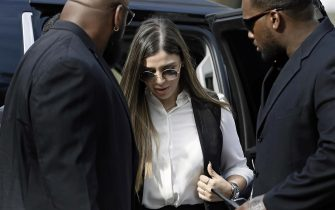 epa07722475 Emma Coronel Aispuro (C) arrives for the sentencing in the trial of her husband Joaquin 'El Chapo' Guzman at United States Federal Court in Brooklyn, in New York, New York, USA, 17 July 2019. Guzman was found guilty on multiple charges of money laundering, directing murders and kidnappings while he allegedly ran a drug cartel.  EPA/PETER FOLEY