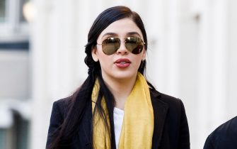 epa09030500 (FILE) - Emma Coronel Aispuro (C) departs United States Federal Court after the first day of jury deliberations in the case against her husband Joaquin 'El Chapo' Guzman in Brooklyn, New York, USA, 04 February 2019 (Reissued 22 February 2021). Emma Coronel Aispuro, wife of drug lord Joaquin 'El Chapo' Guzman, was arrested in relation to her alleged role in the trafficking and distribution of drugs in the US.  EPA/JUSTIN LANE *** Local Caption *** 54958388