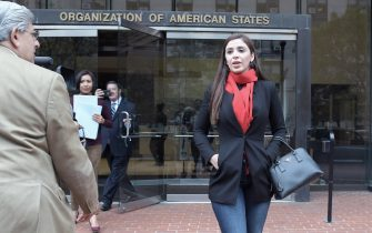 Emma Coronel, spouse of Mexican druglord Joaquin 'El Chapo' Guzman, adresses the media on the alleged 'human rights violation' to his husband at the headquarters of the Inter American Commission of Human Rights (IACHR) of the Organization of American States (OAS) in Washington DC, United States, 27 October 2016. Coronel asked the members of the commission to visit her husband in prison as she says his life is in danger due to health issues. EFE/Lenin Nolly