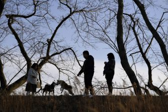 People walk their dog by the Ukedo river in Namie, Fukushima Prefecture, Japan, on Sunday, March 7, 2021. Laid waste by a nuclear disaster a decade ago, Japans Fukushima is still struggling to recover, even as the government tries to bring people and jobs back to former ghost towns by pouring in billions of dollars to decontaminate and rebuild. Photographer: Toru Hanai/Bloomberg via Getty Images