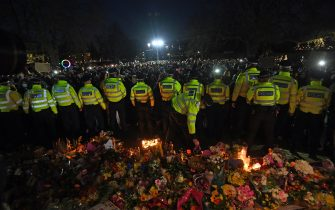 Police surround the band stand in Clapham Common, London, after the Reclaim These Streets vigil for Sarah Everard was officially cancelled. Serving police constable Wayne Couzens, 48, has appeared in court charged with kidnapping and killing the marketing executive, who went missing while walking home from a friend's flat in south London on March 3. Picture date: Saturday March 13, 2021. (Photo by Victoria Jones/PA Images via Getty Images)
