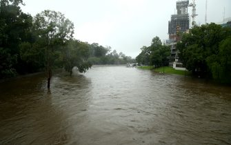 SYDNEY, AUSTRALIA - MARCH 20: Parramatta River overflows and floods due to continuous and heavy rain on March 20, 2021 in Sydney, Australia. Heavy rain and flooding has trigger evacuations on the New South Wales mid coast with over 120mm rain expected for Sydney and residents urged to stay at home. (Photo by Matt Blyth/Getty Images)