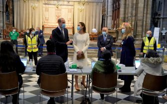 The Duke and Duchess of Cambridge speak to staff during a visit to the vaccination centre at Westminster Abbey, London, to pay tribute to the efforts of those involved in the Covid-19 vaccine rollout. Picture date: Tuesday March 23, 2021.