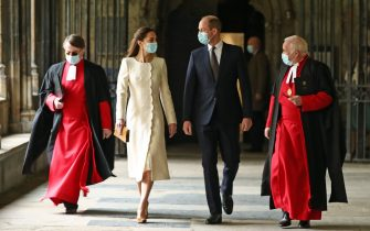 The Duke and Duchess of Cambridge (centre) with Dean of Westminster The Very Reverend Dr David Hoyle (right) and Paul Baumann, Receiver General and Chapter Clerk, arrive for a visit to the vaccination centre at Westminster Abbey, London, to pay tribute to the efforts of those involved in the Covid-19 vaccine rollout. Picture date: Tuesday March 23, 2021.