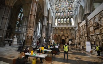 A view of the vaccination centre at Westminster Abbey, London. Picture date: Tuesday March 23, 2021.