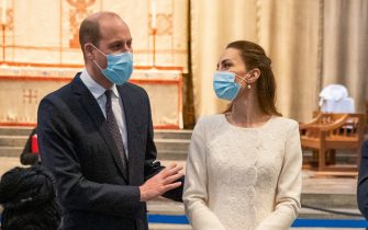 The Duke and Duchess of Cambridge speak to members of staff during a visit to the vaccination centre at Westminster Abbey, London, to pay tribute to the efforts of those involved in the Covid-19 vaccine rollout. Picture date: Tuesday March 23, 2021.