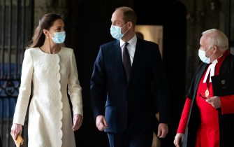 The Duke and Duchess of Cambridge (centre) walk with Dean of Westminster The Very Reverend Dr David Hoyle as they arrive for a visit to the vaccination centre at Westminster Abbey, London, to pay tribute to the efforts of those involved in the Covid-19 vaccine rollout. Picture date: Tuesday March 23, 2021.