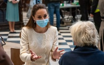 The Duchess of Cambridge speaks to a member of the public during a visit to the vaccination centre at Westminster Abbey, London, to pay tribute to the efforts of those involved in the Covid-19 vaccine rollout. Picture date: Tuesday March 23, 2021.