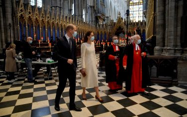 The Duke and Duchess of Cambridge (left) with Dean of Westminster The Very Reverend Dr David Hoyle (right) and Paul Baumann, Receiver General and Chapter Clerk, arrive for a visit to the vaccination centre at Westminster Abbey, London, to pay tribute to the efforts of those involved in the Covid-19 vaccine rollout. Picture date: Tuesday March 23, 2021.