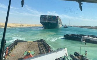 epa09105075 A handout photograph made available by the Syez Canal Authority shows the Ever Given container ship after it was refloated in the Suez Canal, Egypt, 29 March 2021. The head of the Suez Canal Authority announced on 29 March that the large container ship, which ran aground in the Suez Canal on 23 March, is now free floating after responding to the pulling maneuvers.  EPA/SUEZ CANAL AUTHORITY / HANDOUT  HANDOUT EDITORIAL USE ONLY/NO SALES