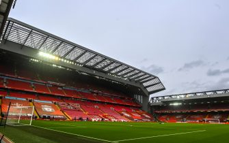 epa09026385 General view of the Anfield Road stadium prior to the English Premier League soccer match between Liverpool FC and Everton FC in Liverpool, Britain, 20 February 2021.  EPA/Paul Ellis / POOL EDITORIAL USE ONLY. No use with unauthorized audio, video, data, fixture lists, club/league logos or 'live' services. Online in-match use limited to 120 images, no video emulation. No use in betting, games or single club/league/player publications.