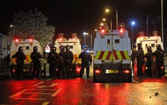 The PSNI on Northland in Carrickfergus near Belfast following sporadic outbursts of disorder. Picture date: Sunday April 4, 2021. (Photo by Liam McBurney/PA Images via Getty Images)