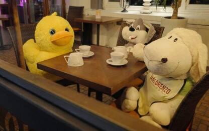 Covid, in Polonia peluche seduti ai tavoli dei ristoranti chiusi