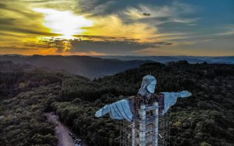 View of a Christ statue being built in Encantado, Rio Grande do Sul state, Brazil, on April 09, 2021. - The Christ the Protector statue under construction in Encantado will be larger than Rio de Janeiro's Christ the Redeemer and the third-largest in the world. (Photo by SILVIO AVILA / AFP) (Photo by SILVIO AVILA/AFP via Getty Images)