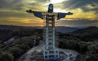 TOPSHOT - View of a Christ statue being built in Encantado, Rio Grande do Sul state, Brazil, on April 09, 2021. - The Christ the Protector statue under construction in Encantado will be larger than Rio de Janeiro's Christ the Redeemer and the third-largest in the world. (Photo by SILVIO AVILA / AFP) (Photo by SILVIO AVILA/AFP via Getty Images)