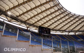 Empty stands during the Serie A soccer match between SS Lazio and Spezia Calcio at the Olimpico stadium in Rome, Italy, 3 April 2021. ANSA/RICCARDO ANTIMIANI