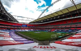 epa08579081 General view inside the stadium prior to the English FA Cup final between Arsenal London and Chelsea FC at Wembley stadium in London, Britain, 01 August 2020.  EPA/Cath Ivill/NMC/Pool EDITORIAL USE ONLY. No use with unauthorized audio, video, data, fixture lists, club/league logos or 'live' services. Online in-match use limited to 120 images, no video emulation. No use in betting, games or single club/league/player publications.